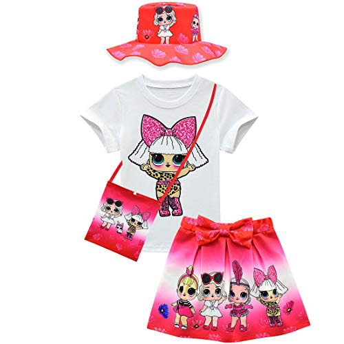 Süßes 2 Kostüm Teiliges Tanz - dgfstm Baby Mädchen Sommer süße Schleife Rock + T-Shirt + Tasche + Hut 4-teilig Gr. One Size, Stil 2