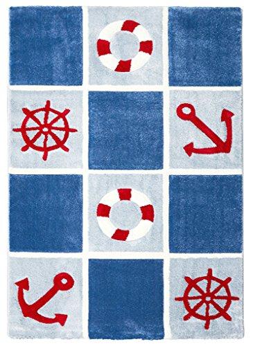 Livone Spielteppich Moderner Teppich Kinderzimmer Kinderteppich Maritim Anker See Meer in blau rot Weiss Größe 160 x 220 cm (Herz Rotes Garn Rosa)