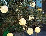 LED 20er Lichterkette 'Lampion weiß' für Außenbereich Outdoor oder Innen Gartenlichterkette Partylampions Sommerlichterkette Gartenbeleuchtung warmweiß