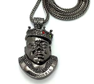 Indispensable collier de ton hématite à pendentif Notorious B.I.G., chaîne Franco L.91,4 cm MHP31HE