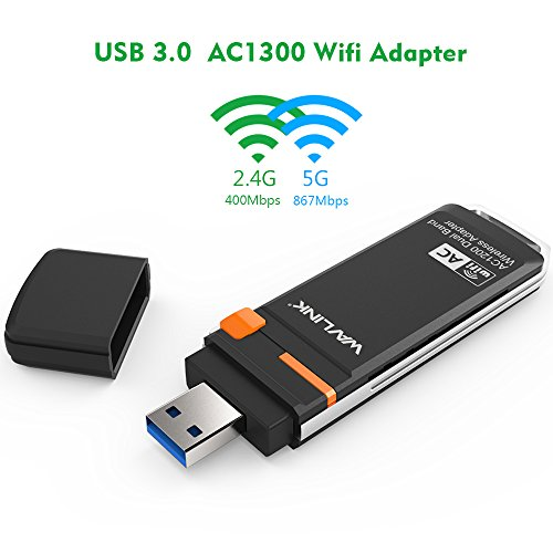 Price comparison product image WAVLINK AC1300Mbps USB Wifi Adapter Dual band Wireless Dongle- 5Ghz up to 867Mbps / 2.4GHz 400Mbps Long Range Network Adapter for Desktop Laptop,  Support Windows XP / 7 / 8 / 8.1 / 10