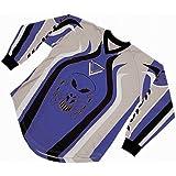 Roleff Racewear Camisa Motocross, Negro/Azul, XXXL
