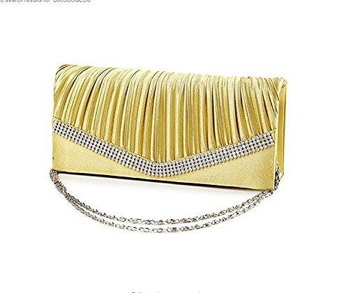 fulla2116Strass der Dame Satin Abend Handtasche Clutch Schultertasche (Golden)