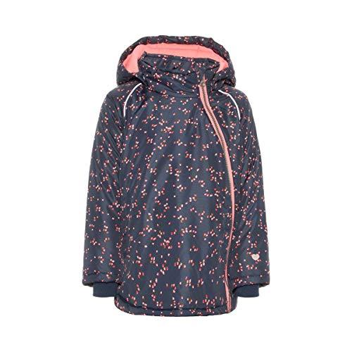 NAME IT Winterjacke Blumen - warme Mädchen-Jacke - Winter-Mantel im Blümchen-Allover-Print - Anorak mit Reflektor-Streifen - Marine/rosa