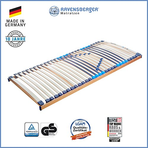 RAVENSBERGER MEDITOP 30-Leisten-Buche-Lattenrahmen | 5-Zonen-Buche-Lattenrahmen | Starr | MADE IN GERMANY - 10 JAHRE GARANTIE | TÜV/GS+LGA/QS - zertifiziert 90x190 cm