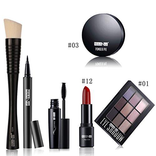 BrilliantDay 6Pcs Kit de Maquillage de Sourcils Poudre Rouge à Lèvres Correcteur Powder Puff Foundation Kit Brosse