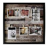 Deko Fotorahmen/Bildhalter in Form eines offenen Bilderrahmens ohne Glasscheibe; Befestigung der Bilder mit Klammern an 2 Kordeln, Außenmaße: Außenmaße: 50 x 50 x 3 cm, Material: Holz, Kordel.