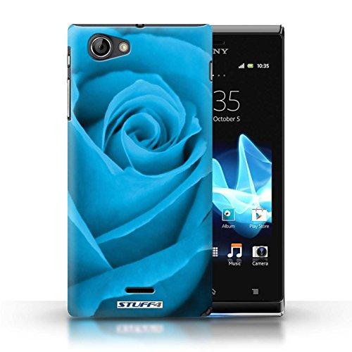 Kobalt® Imprimé Etui / Coque pour Sony Xperia J (ST26i) / Jaune conception / Série Rose Bleu