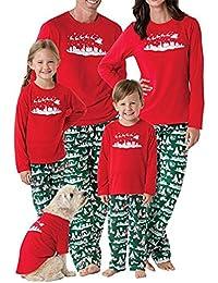 RAISERVEN Mujer Hombre Familia de Navidad a Juego Set de árbol de Manga Larga Pijama de
