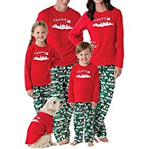 Chicolife Familia Que el árbol de Navidad Set Fija Superior Pantalones de Manga Larga Pijama Ropa