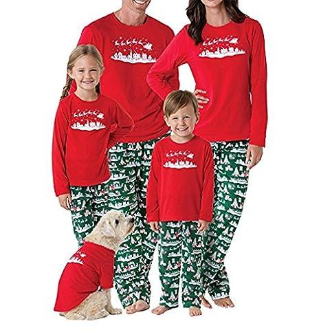 Chicolife Familie passenden Weihnachtsbaum Set Langarm Schlafanzug Nachtwäsche Top Hosen Sets für Mama