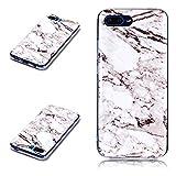 Huawei Honor 10 Hülle, KANTAS Silikon Marmor Schutzhülle für Huawei Honor 10 Marble Hülle Weiß Schwarz Crack Muster Gumm