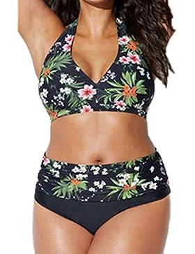 La Mujer Trajes De Baño Bikini De Dos Piezas, Conjuntos Florales Plus Size
