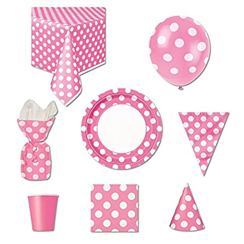 Hot Pink Polka Dot Party Supplies Kit for 8