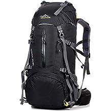 QHUI Wasserdichter Rucksack mit 45L + 5L Fassungsvermögen aus Nylon Großer Trekkingrucksack mit Regenschutzhülle perfekt zum Wandern Bergsteigen Reisen und für Sport und Camping
