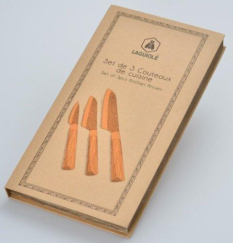 Laguiole COUTEAUX 3-teiliges Küchen-Messer Weihnachtsgeschenk Geschenk Set Hammerschlag - 3