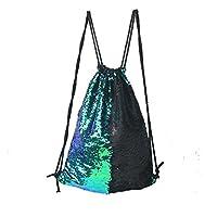 Tskybag Mermaid Sequin Bag Drawstring Sequins Backpack Glitter Mermaid Backpacks Magic Dance Bags for Women Girls Teens (Fancy Green/Black)