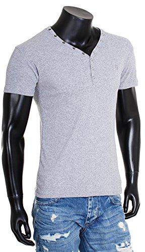 Young & Rich Herren Uni feinripp Basic T-Shirt mit Knopfleiste & tiefem V-Ausschnitt deep V-Neck slim fit einfarbig 1873 Grau