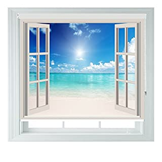 Window Beach View Made To Measure Black Out Roller Blinds for Bedrooms Bathrooms Kitchens and Caravans AOA® (window beach 5ft)