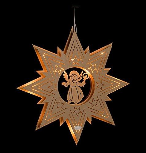 ERM Holzmanufaktur 3D Fensterbild Engel im Stern beleuchtetes Fensterbild aus Holz Weihnachtsdeko Weihnachten