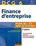 DCG 6 - Finance d'entreprise - 5e édition - Manuel et applications