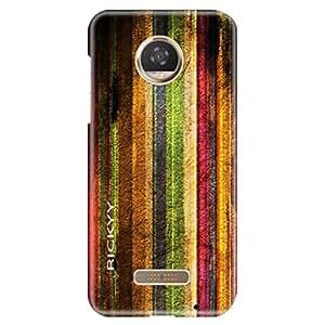 RICKYY Rainbow Fence design printed matte finish back case cover for Motorola Moto Z2 Play