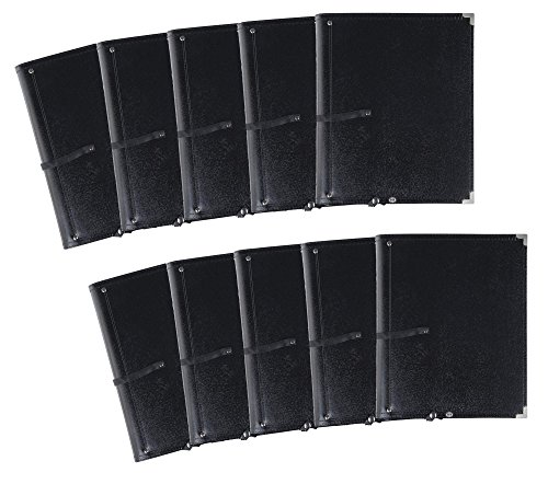 10x Classic Cantabile Notenmappe Deluxe Schwarz Set (stabiles Kunstleder, Handschlaufe, Noten bis DIN A4, herausnehmbares Ringelement, Schutzecken)