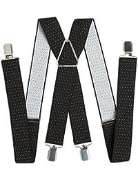BRUBAKER bretelles noir à points forts 4 clips métal blanc 34 mm de largeur, très stable et solide
