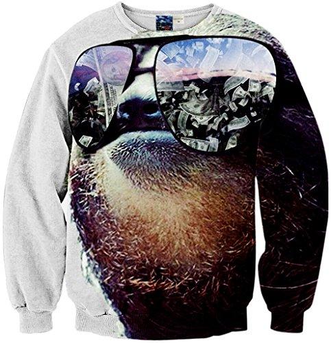 Pizoff Unisex Hip Hop Sweatshirts mit 3D Digital Print 3D Muster Faultier Glass Geld doller Y1759-72-M
