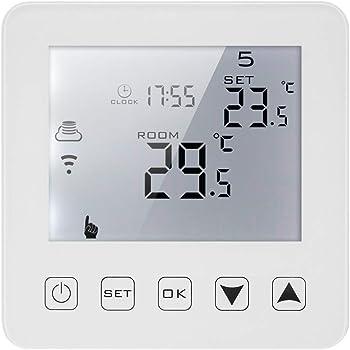 Decdeal Termostato Programmabile,Termostato WiFi,Display LCD,Riscaldamento Elettrico con Retroilluminazione Bianca,Controllo Vocale,16A AC100-230V,per Risparmio Energetico (3A, Touch Screen)