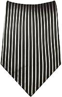 Paul Malone Schwarz Silber XL Krawatte 100% Seidenkrawatte (Extralang 165cm)