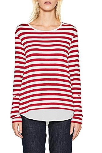 ESPRIT Collection Damen Langarmshirt 997eo1k800 Rot (Red 630)