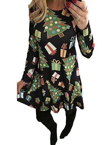 (Frauen-Lange Hülsen Plus Größen-Weihnachtsweihnachtsgeschenke Drucken Flared Swing Dress Top)