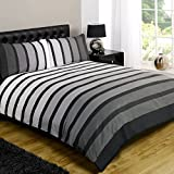 Just Contempo Striped Duvet Cover Set, Double, Grey