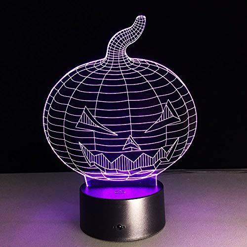 (Halloween Kürbis Schädel 3D Usb Led Nachtlicht 7 Farben Ändern Stimmung Lampe Touch Button Kinder Schlafzimmer Lampe Drop Shipping Without remote control)