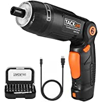 Cordless Screwdriver, Tacklife 2000mAh Lithium-Ion Electric Screwdriver, 31 Bits Included, 3 Flexible Positions and 6 Torque Setting, max. Torque: 4Nm, Front and Rear Lamp, for Furniture Assembly, Work in Confined Spaces and Desktop Work,SDH13DC