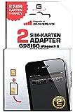 GDSI6G/ SCHNEEWEISS/ 2 JAHRE Herstellergarantie!/ Mehrsprachig/ Dual SIM DualSIM Adapter iPhone 6 UMTS/3G/HSDPA/GPS/LTE