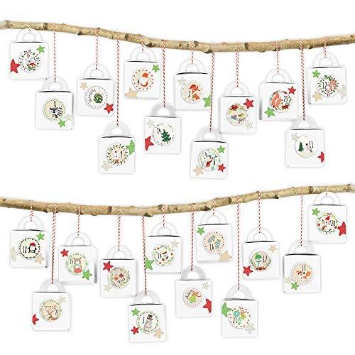 Papierdrachen DIY Adventskalender zum Befüllen - 24 Henkelkisten mit weihnachtlichen Zahlenaufklebern von 1-24 - zum selber Basteln und individuellen Gestalten - Weihnachten 2018