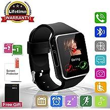 Adhope Reloj Inteligente Bluetooth Deportivo de Pulsera Soporte con Pedómetro, Fitness tracker, Alertas de mensajes Facebook Twitter Táctil Alertas de Mensajes Smart Watch Android Negro