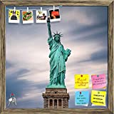 ArtzFolio The Statue Of Liberty In New York City, USA Printed Bulletin Board Notice Pin Board cum Antique Golden Framed Painting 12 x 12inch