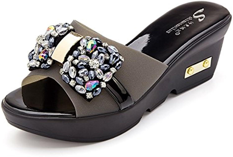 Gemütlich Out Pantoffeln Weibliche Sommer Mode tragen sexy Pantoffeln Erhöhen Sie die coole Anhänger dicke untereö