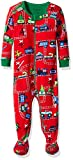 Hatley Baby-Jungen Schlafstrampler 100% Organic Cotton Footed Sleepsuit, Rot (Magical Christmas Train 600), 12-18 Monate