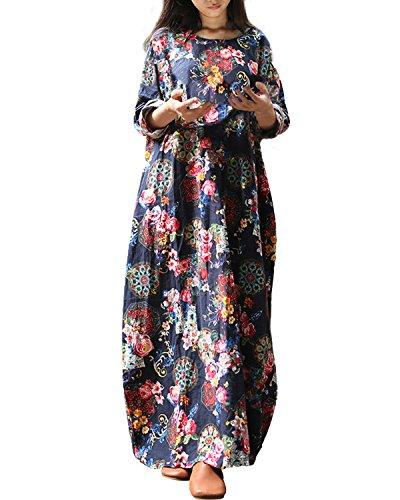 StyleDome Damen Baumwolle Lockere Retro Floral Gedruckt Batwing Langarm Maxi Lange Kleid Marine 38-40 (Batwing Damen Kleid Ärmel)