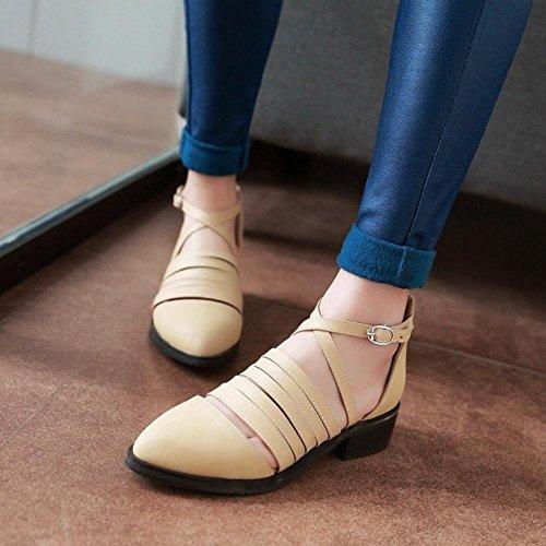 COOLCEPT Freizeit Damen Niedrige Gladiator Ankle Wrap Pumps Knochelriemchen Schuhe Aprikose