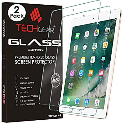 """TECHGEAR® New Apple iPad (9.7"""" / 2017) GLASS Edition Genuine Tempered Glass Screen Protector Guard Covers"""
