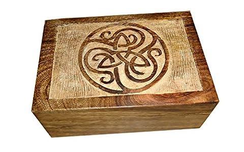 Icrafts en bois Pentacle souvenir à bijoux boîte à bijoux de stockage Organiseur | fait à la main | (17.5x 12.5cm)