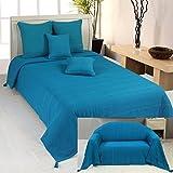 Homescapes–Rajputen gerippter Überwurf–Blaugrün–100 % Handarbeit Baumwolle–geeignet für die meisten 2-Sitzer-Sofas–Einzel-Tagesdecken–Einfach zu pflegen, kann gewaschen werden, baumwolle, blaugrün, 150 x 200 cm