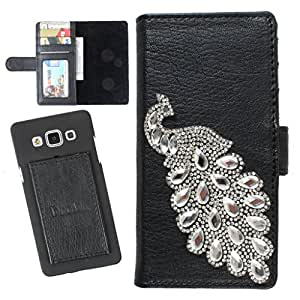 DooDa PU Leather Wallet Flip Case Cover With Rhinestone Peacock in Front And Card & ID Slots For Karbonn Titanium Machtwo S360 - Back Cover Not Included Peel And Paste