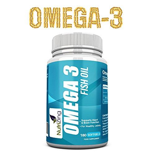 NutriZing Omega-3 hohe Festigkeit Ergänzung ~ 2000mg, 660 EPA 440 DHA pro Portion ~ 180 weiche Gele ~ Die essentiellen Fettsäuren unterstützen das Immunsystem, Herz und Gehirn Gesundheit, helfen beim Cholesterinprobleme, für die Gelenkpflege ~ Geld-zurück-Garantie