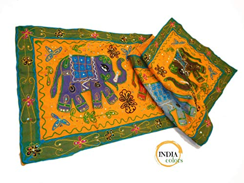 India Colors. Camino de mesa, mantel decorativo, pie de cama, tapiz o...